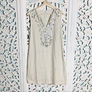 Vineyard Vines Flax Linen Shell Beaded Tunic Dress